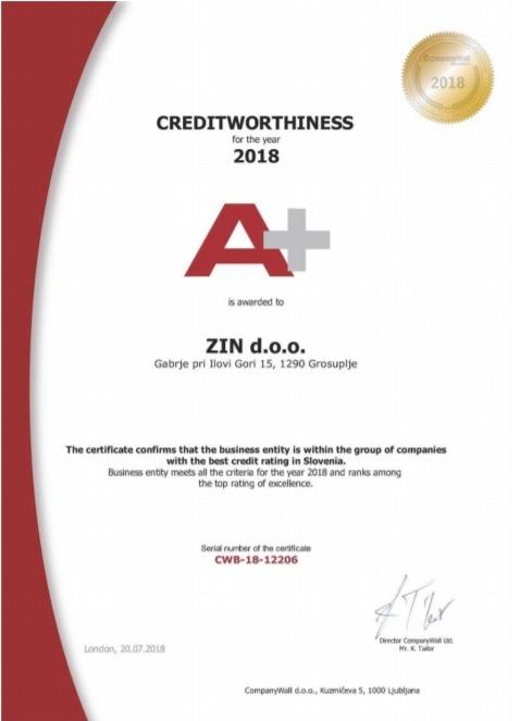 Certifikat Companywall 2018